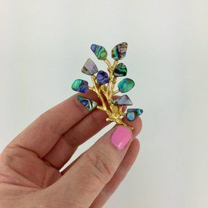 VINTAGE . ABALONE TREE PIN . HANDMADE . GOLD TONE